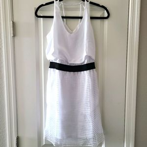 Metaphor white cage detail lined dress
